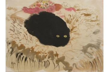 Numa on Sheepskin, watercolor on paper, 28 by 36 in. Emilia Kallock 2003