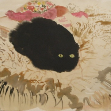 Numa on Sheepskin, watercolor on paper, 28 by 36 in. Emilia Kallock 2003