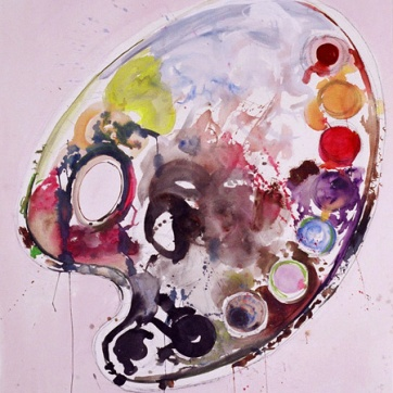Paint Palette, watercolor on paper, 58 by 49 in. Emilia Kallock 2004