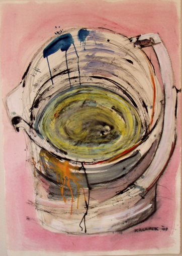 Painter's Jug, watercolor and ink on paper, 30 by 22 in. Emilia Kallock 2003