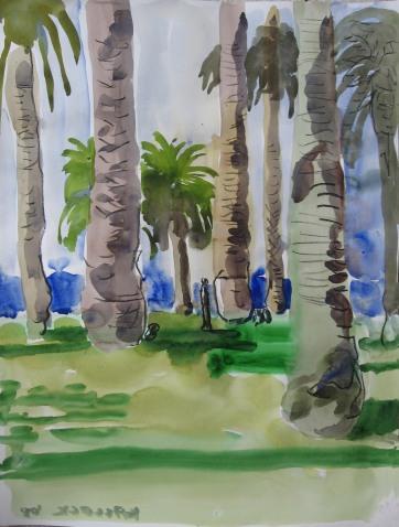 LA Palm Trees, watercolor on paper, 17 by 24 in. Emilia Kallock 2008