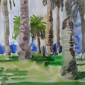 LA Palm Trees, watercolor on paper, 17 by 24 in. Emilia Kallock 2008