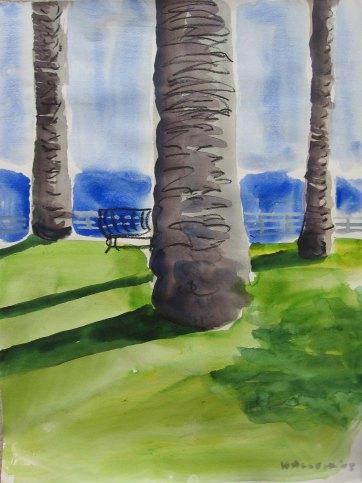 LA Palm Trees, watercolor on paper, 24 by 17 in. Emilia Kallock 2008