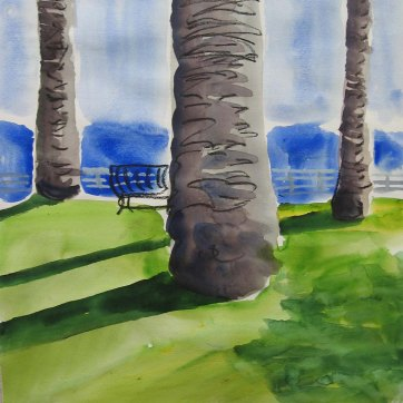 LA Palm Trees, watercolor on paper, 24 by 17 in. Emilia Kallock 2008
