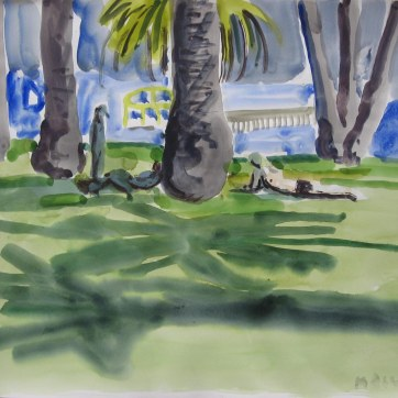 LA Palm Trees, watercolor on paper, 18 by 24 in. Emilia Kallock 2008