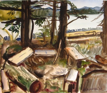 Picnic Spot, watercolor on paper, 11 by 12 in. Emilia Kallock 2010