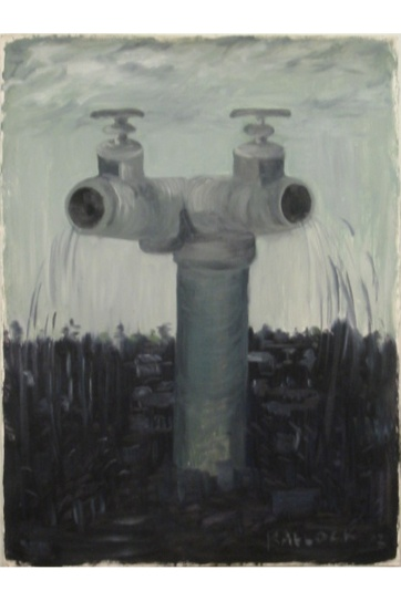 Pipes, oil on primed paper, 30 by 18 in. Emilia Kallock 2003
