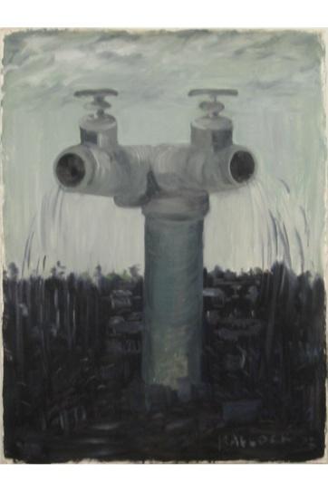 Pipes, oil on primed paper, 30 by 18 in. Emilia Kallock 2003
