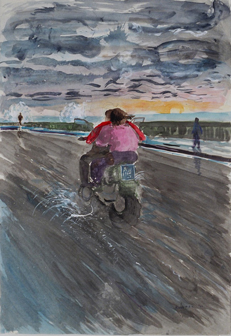 Por el Malecon en Havana, watercolor on paper, 40 by 32 in. Emilia Kallock 2002