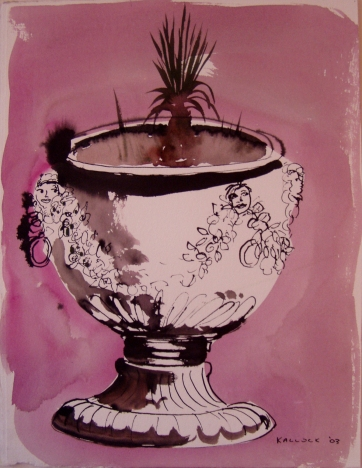 Potter Painting, watercolor and ink on paper, 20 by 14 in. Emilia Kallock 2003
