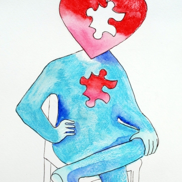 Puzzle Heart Sketch 2, watercolor on paper, 12 by 8 in. Emilia Kallock 2015