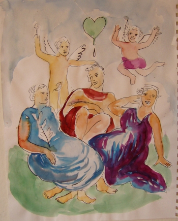 Family, watercolor on paper, 12 by 8 in. Emilia Kallock 2005