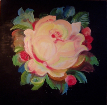 Rose, oil on canvas, 50 by 59 in. Emilia Kallock 2005