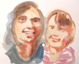 Mother and Daughter, watercolor on paper, 8 by 10 in. Emilia Kallock 2014