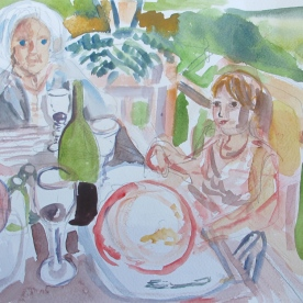 Granddaughter and Grandmother, watercolor on paper, 6 by 8 in. Emilia Kallock 2014