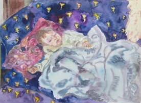 Sage Sleeping, watercolor on paper, 10 by 12 in. Emilia Kallock 2014