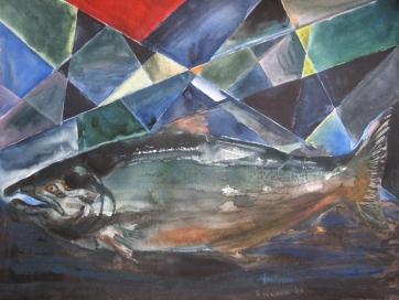 Salmon in Stream, watercolor on paper, 18 by 24 in. Emilia Kallock 2014