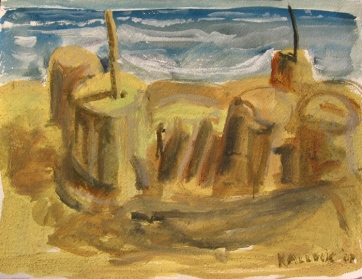 Sandcastle 1, watercolor on paper, 12 by 16 in. Emilia Kallock 2007