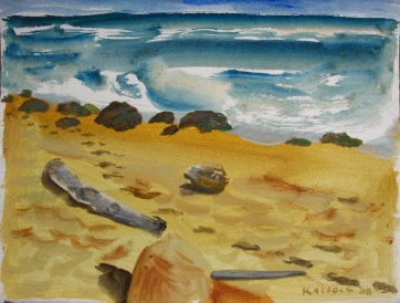 Sandcastle and Sticks, watercolor on paper, 12 by 16 in. Emilia Kallock 2007
