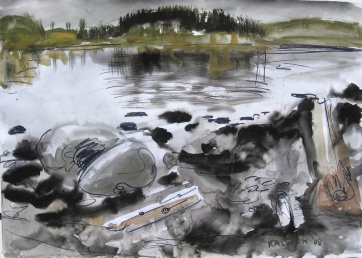 San Juan 3, watercolor and charcoal on paper, 18 by 24 in. Emilia Kallock 2008