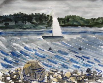 San Juan Sail, watercolor on paper, 24 by 30 in.