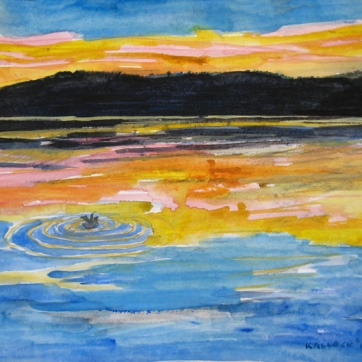 San Juan Sunset, watercolor on paper, 9 by 13 in. Emilia Kallock 2007