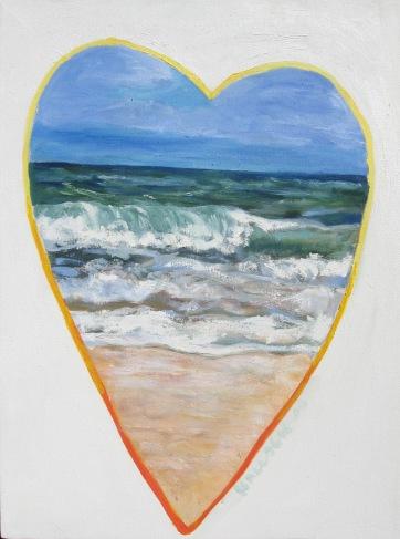Beach Heart, oil on canvas, 22 by 17 in. Emilia Kallock 2008