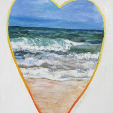 Beach Heart, oil on canvas, 22 by 17 in. Emilia Kallock 2008
