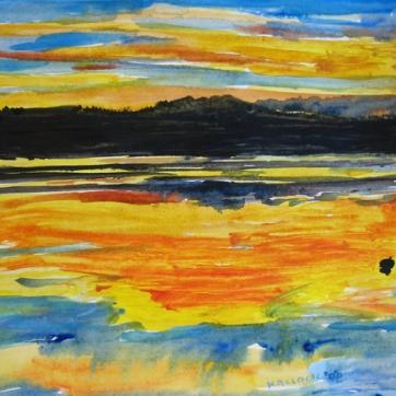 San Juan Sunset 1, watercolor on paper, 9 by 13 in. Emilia Kallock 2007