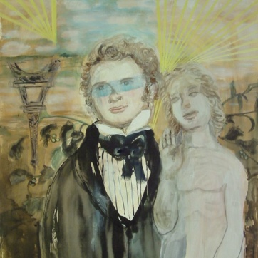 Schubert and Adam in Paris, watercolor and ink on paper, 39 by 25 in. Emilia Kallock 2003