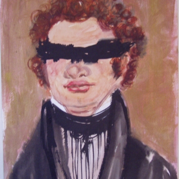 Schubert Blindfolded, watercolor and acrylic on paper, 26 by 16 in. Emilia Kallock 2002