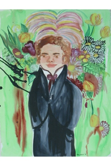 Schubert and Flowers, watercolor on paper, 34 by 22 in. Emilia Kallock 2002