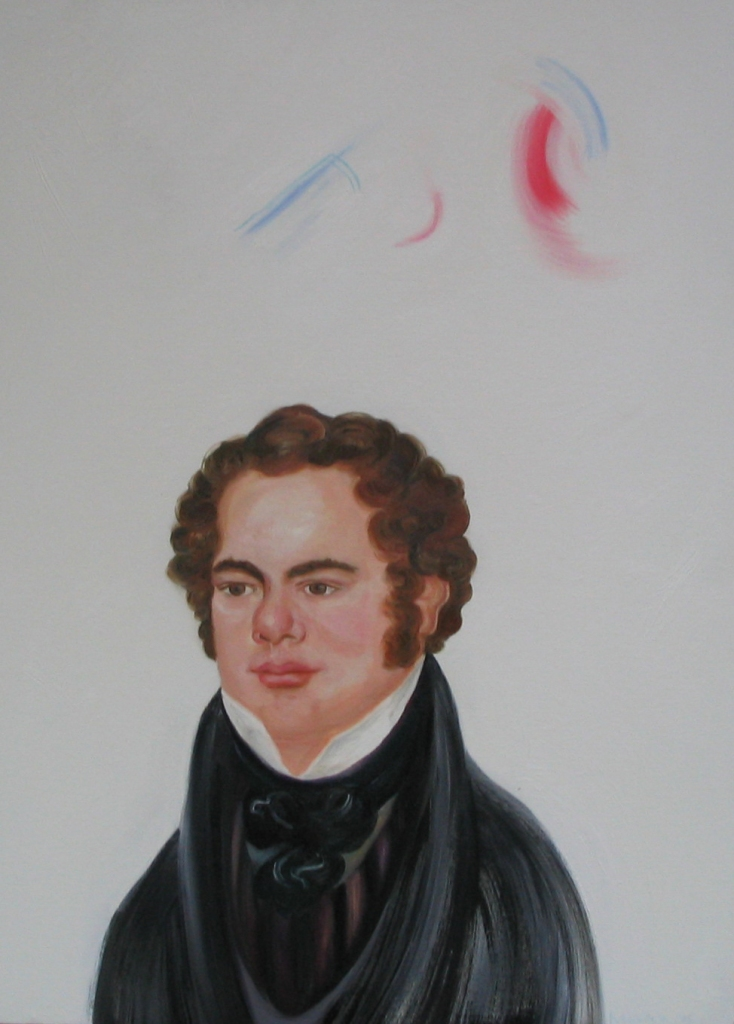 At the Precise Moment that Franz Schubert Heard The First Notes To His Next Composition, oil on canvas 35 by 22 in. Emilia Kallock 2005