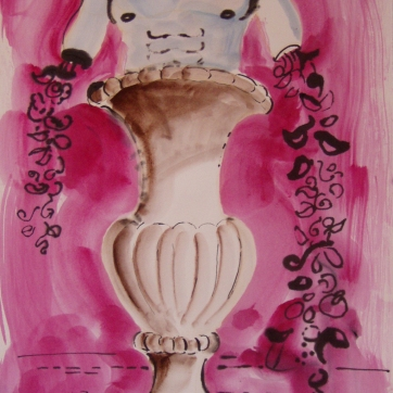 Simple Urn, watercolor on paper, 14 by 8 in. Emilia Kallock 2003