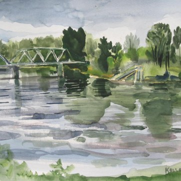 Skagit River 2, watercolor on paper, 18 by 24 in. Emilia Kallock 2008