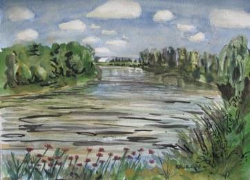 Skagit River 1, watercolor on paper, 18 by 24 in. Emilia Kallock