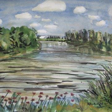 Skagit River 1, watercolor on paper, 18 by 24 in. Emilia Kallock