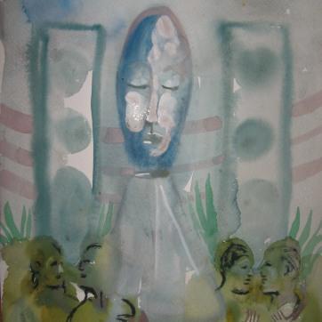 Sleeping Speaker Deity, watercolor on paper, 8 by 12 in. Emilia Kallock 2006