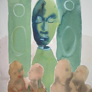 Sleeping speaker Deity 2, watercolor on paper, 12 by 8 in. Emilia Kallock 2006