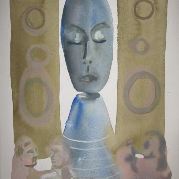 Sleeping Speaker Deity 3, watercolor on paper, 12 by 8 in. Emilia Kallock 2006