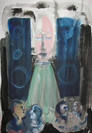 Sleeping Speaker Deity 4, watercolor on paper, 13 by 8 in. Emilia Kallock 2006