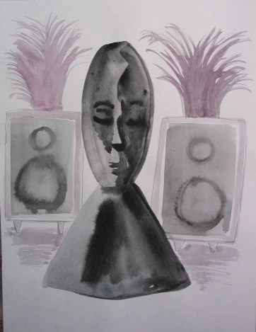 Sleeping Speaker Deity, watercolor on paper, 8 by 6.5 in. Emilia Kallock 2006