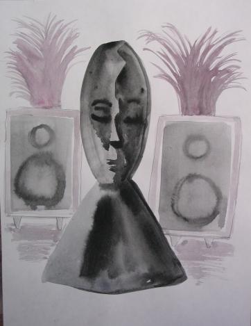 Sleeping Speaker Deity, watercolor on paper, 8 by 6.5 in. Emilia Kallock 2006