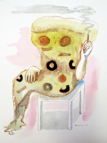 Smoking Pizza, watercolor on paper, 9 by 7 in. Emilia Kallock 2015