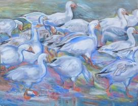 Snowgeese, oil on canvas, 54 by 65 in. Emilia Kallock 2014