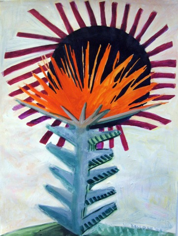 Spike Flower, watercolor on paper, 35 by 28 in. Emilia Kallock 2007