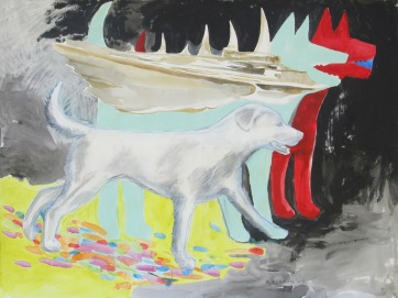 Spirit Dogs, acrylic on paper, 36 by 48 in. Emilia Kallock 2009