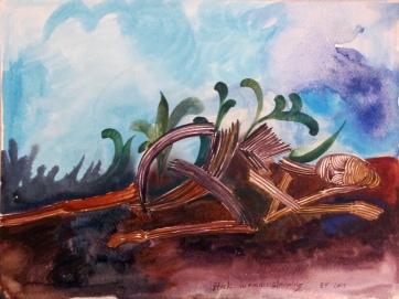 Stick Woman 2, watercolor on paper, 8 by 11 in. Emilia Kallock 2014