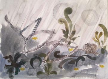 Stick Woman 4, watercolor on paper, 8 by 11 in. Emilia Kallock 2014