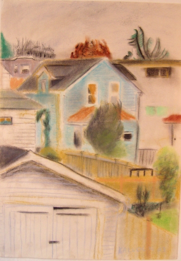 View of Garage Studio by Day, pastel on paper, 20 by 12 in. Emilia Kallock 2005